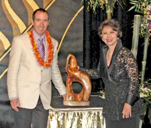 Steve Turnbull & Jean Ariyoshi with elephant sculpture gift