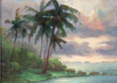 oil painting of palm tree and shore by julie houck