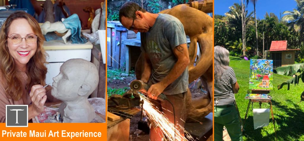 collage photo of maui artists christine turnbull and steve turnbull