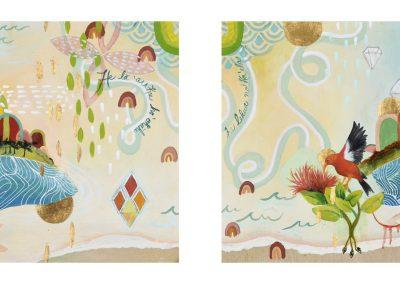 'Lehua' diptych painting by Jennifer Valenzuela
